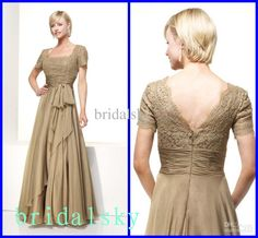 Wholesale Brown Lace Ruched Sash Short sleeves Square Column Floor length Mother of the Bride Dresses P-148, Free shipping, $97.44-104.16/Piece | DHgate