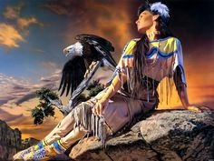 "Native American Indian Girl Eagle Art printing wall poster  24""x32""wbp05155-in Wall Stickers from Home & Garden on Aliexpress.com 