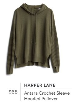 I REALLY love this top! It's so different than what I would normally wear, but I do love the olive color and thumb holes! Hoodies, Sweatshirts, Stitch Fix, New Fashion, Pullover, My Style, Sleeves, Sweaters, How To Wear