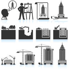 Building and construction of skyscraper black & white icon set vector art illustration