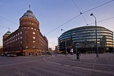 The intersection of Porthaninkatu, Toinen Linja and Siltasaarenkatu streets, Arena-building and ympyrätalo, Helsinki, Finland Lappland, Visit Helsinki, Round Building, Cultural Events, Interesting History, Beautiful Buildings, Capital City, Cool Pictures, Street View