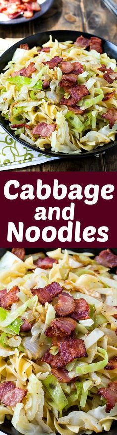 Cabbage and Noodles cooked in bacon ~ Simple and easy comfort food.