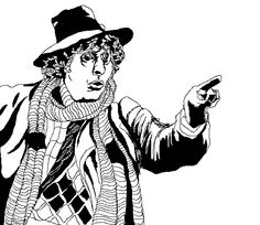 Black and white image of Tom Baker as the Doctor - created on MS paint using Bamboo graphics tablet