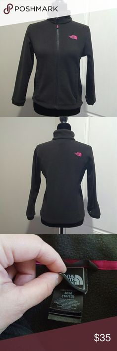 Girl's The North Face fleece jacket, size medium Girls The North Face fleece jacket, size medium.  Black and pink, has some fuzzies, really good condition,  no stains or tares. The North Face Jackets & Coats