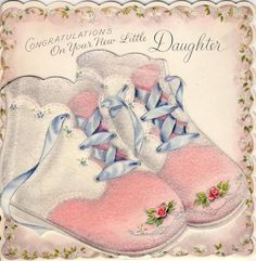 Vtg c.1950 NEW BABY GIRL DAUGHTER Greeting Card FLOCKED DIE-CUT BABY SHOES