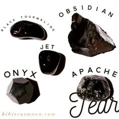 How to tell the Difference between Black Onyx, Jet, Apache Tear, Black Tourmaline & Black Obsidian - Hibiscus Moon Crystal Healing Academy Minerals And Gemstones, Crystals Minerals, Rocks And Minerals, Crystal Magic, Crystal Grid, Quartz Crystal, Black Crystals, Stones And Crystals, Gem Stones