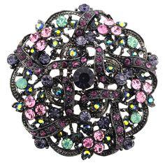 Purple Flower Wedding Crystal Brooch/Pendant