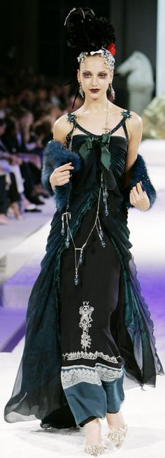 Fall 2005 Christian Lacroix - Couture. Her makeup is awful but the dress and accessories are great