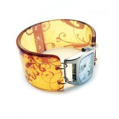 NEW, RESIN WATCH. Steampunk, Chunky Bangle Bracelet watch, resin, photo bracelet. $60.00, via Etsy.