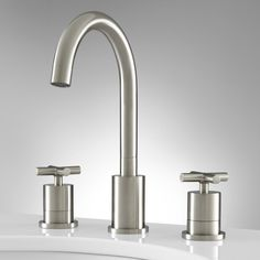 Exira Widespread Bathroom Faucet - Overflow - Brushed Nickel