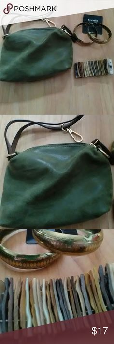 Leather Coin Purse Bundle Beautiful little olive green coin purse, genuine leather. Has a strap and a clip. Could be used as a wristlette. Comes with a pair of gold tone hoop earrings and a mother of pearl seashell bracelet. Nice little gift set. I can also do gift wrapping! Bags