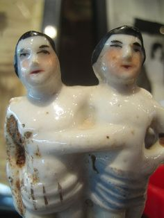 Chang and Eng ...figurines circa 1850 of the famous Siamese Twins