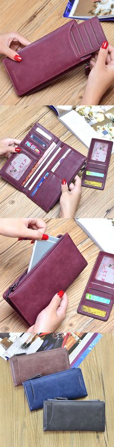 US$14.19  Women PU leather Large Capacity Long Wallet Fashion 13 Card Slot Card Holder Phone Bag