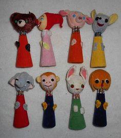 Lot of 8 Vintage Cloth Doll Finger Puppets Velvet Corduroy Silk | eBay