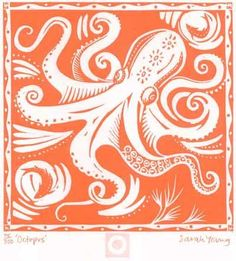 Octopus lino cut. I am so making a purple octopus for Tish :)