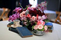 books / flowers / teacups centerpiece