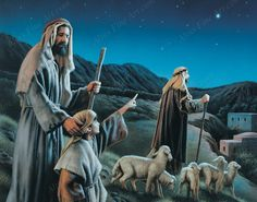 Come Ye to Bethlehem by artist Simon Dewey depicts the shepherds on the night Jesus was born and can be purchased in paper or canvas reproductions on sale at Christ-Centered Art.