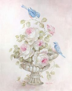 Another great find on Debi Coules Sweet Rose Song Gallery-Wrapped Canvas Pintura Shabby Chic, Shabby Chic Painting, Art Floral, Floral Prints, Romantic Shabby Chic, Romantic Roses, Rose Art, Vintage Diy, Vintage Flowers