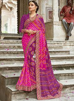 6ba124b46481bc Fuchsia And Purple Georgette Party Wear Saree