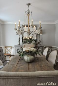 Some Subtle Fall Touches in our Dining Room CHANDELIER FROM Savvy in williamsburg, Va
