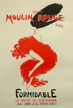 Affiche Ancienne Originale Moulin Rouge Formidable Par René Gruau -