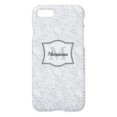 Elegant Monogram in Embossed Flower Custom iPhone 8/7 Case - monogram gifts unique design style monogrammed diy cyo customize