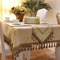 Custom Imitated Silk Fabric Golden Yellow Jacquard Luxury Tablecloth Covers Christmas Table Cloth, Lace Decor, Table Set Up, Idee Diy, Dinning Table, Holiday Tables, Table Toppers, Table Linens, Silk Fabric