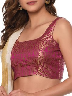 Buy Pink Brocade Sleeveless Stitched Blouse by Kaanchie Nanggia - Online shopping for Blouses in India Saree Blouse Neck Designs, Stylish Blouse Design, Fancy Blouse Designs, Sleevless Saree Blouse, Designer Blouse Patterns, Blouse Models, Kurti Styles, Blouse Styles, Silk Lehenga