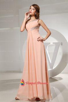 132.00$  Watch here - http://vihmf.justgood.pw/vig/item.php?t=as8o3tn14982 - Peach One Shoulder Chiffon Pleated Beaded Neckline Long Bridesmaid Dresses 132.00$