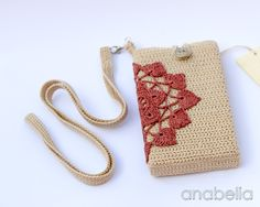 Smart phone case with crochet neckband by Anabelia