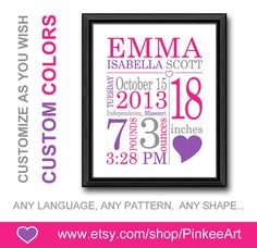 pink purple birth details print for baby girls gift girl nursery birth print birth annoucements new baby print birth sign baby wall decor by PinkeeArt, $17.00