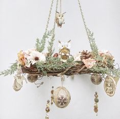 Rustic chandelier wreath – woodland nursery owl decor – floral hanging wreath for cabin or lodge – nature lover gift – Holiday mobile wreath - Modern Woodland Decor, Woodland Nursery, Owl Nursery Decor, Owls Decor, Christmas Chandelier, Rustic Chandelier, Floral Chandelier, Chandeliers, Wooden Reindeer