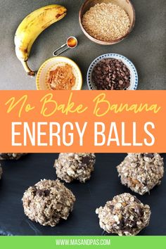 These no bake peanut butter banana energy bites are the perfect bite sized snack, packed with creamy peanut butter, bananas, and mini chocolate chips. These on the go energy balls are so easy to make, and so yummy! #energybites #peanutbutterballs #bananaenergyballs #energyballs #healthysnacks Dairy Free Chocolate Chips, Chocolate Chip Oatmeal, Mini Chocolate Chips, Easy Baking For Kids, Baking Recipes For Kids, Sugar Free Peanut Butter, Peanut Butter Banana, No Bake Energy Bites, Energy Balls