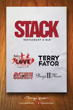 Join us at Stack for Dinner and a Show!!! Purchase your show tickets to The Beatles LOVE, Boyz II Men, Terry Fator, or Aces of Comedy at the @The Mirage Hotel & Casino and make sure to join us for a delicious dinner at Stack Restaurant & Bar.