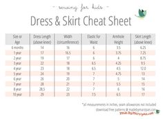 Free printable Dress and Skirt Sizing Cheat Sheet! Hang it in your sewing room for quick reference.