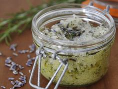 DIY Rosemary-Lavender Salt Scrub    6 to 8 tablespoons olive oil 1 tablespoon culinary grade lavender 1 tablespoon finely chopped fresh rosemary leaves 1/2 cup kosher (coarse) salt