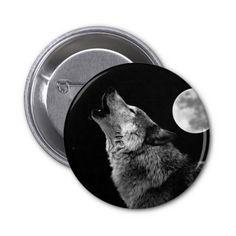 Wolf howling full moon badge