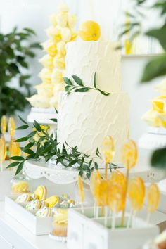 Lemon Cake and Sweets, Bridal Shower Cake, Greenery Cakes | Amalfi Coast Inspired Bridal Shower | ElegantWedding.ca