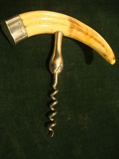 Antique Hallmarked Sterling Silver Boar's Tusk Corkscrew 1908