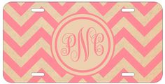 Personalized Monogrammed Chevron Vintage Pink License Plate Car Custom Tag  L005
