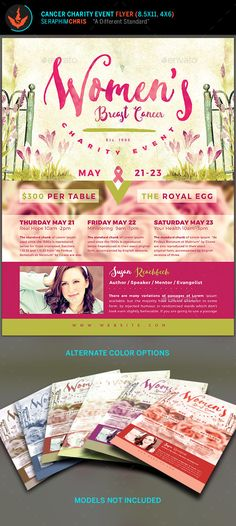 Breast Cancer Charity Event Flyer Template This cancer awareness flyer template is designed with stylish hues of pink and easy to follow layout. Although it's tailored for this specific occasion, it can also be used for multiple types of events. Perhaps you need a design that isn't like all the rest, well look no further. It's designed to give you the highest quality presentation for your event. You'll also find it easy to use for a smooth editing experience.