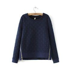SheIn(sheinside) Navy Round Neck Polka Dot Zipper Sweatshirt (€20) ❤ liked on Polyvore featuring tops, hoodies, sweatshirts, navy, long sleeve pullover, sweat shirts, navy tops, navy blue tops and long sleeve sweatshirt