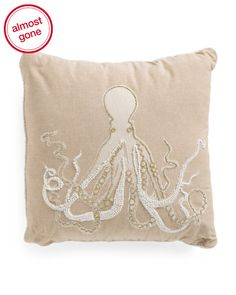 Made+In+India+20x20+Beaded+Octopus+Pillow