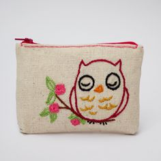 owl coin purse - hand embroidery on linen by NIARMENA on Etsy https://www.etsy.com/listing/169373052/owl-coin-purse-hand-embroidery-on-linen