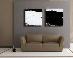 Set of 2 Black Grey White Original Abstract Painting on Canvas