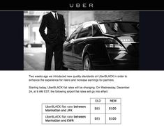 UberBLACK has increased the cost of fixed rate transfers to& the airports in NYC. How much of a price hike are we seeing? Uber Black Car, Black Cab, Uber Car Seat, Black Car Service, Uber A, Uber Ride, Black Luxury, Nyc, Airports