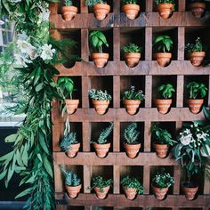 """""""Such a fun #escortcard idea - mini terra cotta pots with herbs and calligraphy for the guest name & table number! Love it @beauandarrowevents! Photo by…"""""""