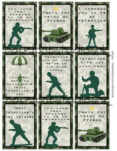 Green Army Men Printable Valentines 8.5x11 Digital Instant Download by BarefootStudiosOk on Etsy https://www.etsy.com/listing/263864618/green-army-men-printable-valentines
