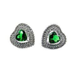 Sterling Silver Green Cubic Zirconia Heart Stud Earrings