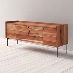 Blu Dot Peek 2 Door 2 Drawer Sideboard Color: Rustic Walnut Bedroom Dresser Sets, Wood Drawers, Marble Mosaic, Adjustable Shelving, All Modern, Sideboard, Doors, Rustic, Storage